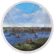 View Of Boston, 1738 Round Beach Towel