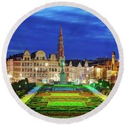 View Of Brussels From Jardin Du Mont Des Arts Round Beach Towel by Barry O Carroll