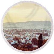 view of Buildings around Athens city, Greece Round Beach Towel