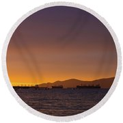 View Of Cargo Ships From Sunset Beach Vancouver Bc Round Beach Towel