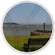 View Of Castle Pinckney During Tropical Storm Hermine Round Beach Towel
