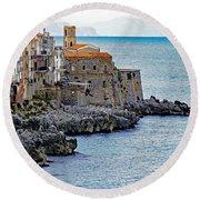 View Of Cefalu Sicily Round Beach Towel