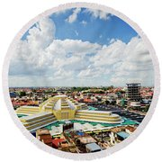 View Of Central Market Landmark In Phnom Penh City Cambodia Round Beach Towel