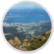 View Of City From Mountain Top Round Beach Towel