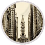 View Of Cityhall From Broad Street In Philadelphia Round Beach Towel