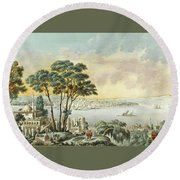 View Of Constantinople From The Marmara Sea Round Beach Towel