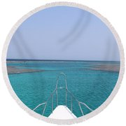 View Of Coral Round Beach Towel
