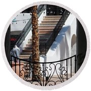 View Of Courtyard Through Adobe Doorway Photograph By Colleen Round Beach Towel