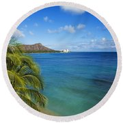 View Of Diamond Head Round Beach Towel