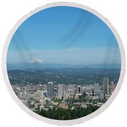 View Of Downtown Portland Oregon From Pittock Mansion Round Beach Towel