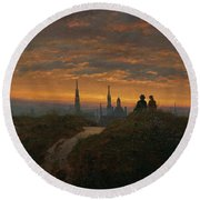 View Of Dresden At Sunset  Round Beach Towel