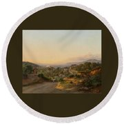 View Of Florence And The Hills Round Beach Towel