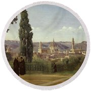 View Of Florence From The Boboli Gardens Round Beach Towel