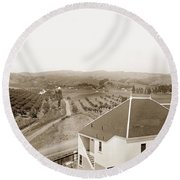 View Of Foothill Orchards. This View Of Orchards In The Foothill Round Beach Towel