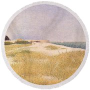 View Of Fort Samson Round Beach Towel by Georges Pierre Seurat