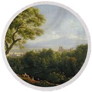 View Of Frascati Round Beach Towel