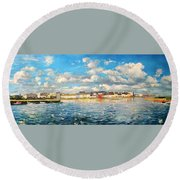 View Of Galway Harbour Round Beach Towel