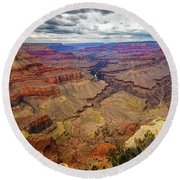 View Of Grand Canyon And Colorado River From Pima Point Round Beach Towel by John Hight