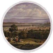 View Of Greenock  Scotland 1816 By Robert Salmon Round Beach Towel