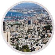 View Of Haifa Round Beach Towel