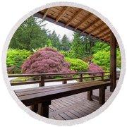 View Of Japanese Garden From The Veranda Round Beach Towel