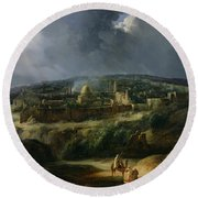 View Of Jerusalem From The Valley Of Jehoshaphat Round Beach Towel by Auguste Forbin