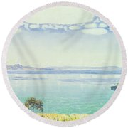 View Of Lake Leman From Chexbres Round Beach Towel