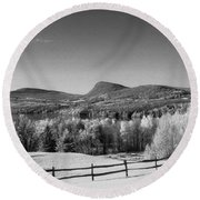 View Of Lake Willoughby Round Beach Towel