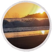 View Of Large Fishing Boat From The Beach At Sunset Round Beach Towel