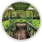 View Of Lily Pads From Gazebo By Kaye Menner Round Beach Towel