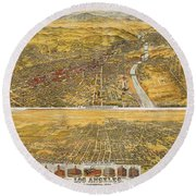 View Of Los Angeles, 1894 Round Beach Towel