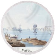 View Of Malta Round Beach Towel