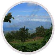 View Of Mauna Kahalewai West Maui From Keokea On The Western Slopes Of Haleakala Maui Hawaii Round Beach Towel