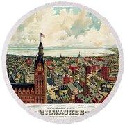 View Of Milwaukee 1898 Round Beach Towel