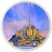 View Of Mont Saint Michel Round Beach Towel