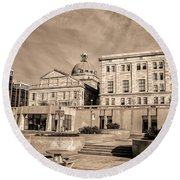 View Of Montgomery County Courthouse From The Southside In Sepia Round Beach Towel