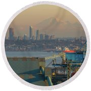 View Of Mount Baker And Vancouver Bc At Sunset Round Beach Towel