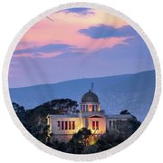 View Of National Observatory Of Athens In The Evening, Athens, G Round Beach Towel