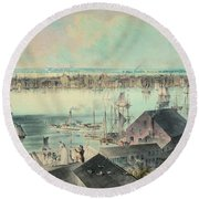 View Of New York From Brooklyn Heights Ca. 1836, John William Hill Round Beach Towel