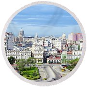 View Of Old Town Havana Round Beach Towel