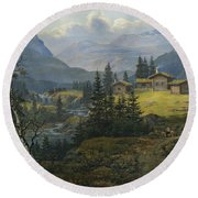View Of Oylo Farm, Valdres Round Beach Towel