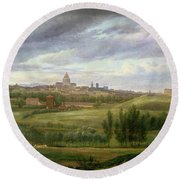 View Of Paris From Butte Aux Cailles Round Beach Towel