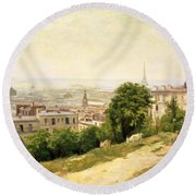 View Of Paris Round Beach Towel
