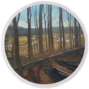 View Of Parkers Creek Round Beach Towel