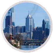 View Of Phliadelphia From West River Drive. Round Beach Towel