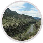 View Of Salt River Canyon Round Beach Towel