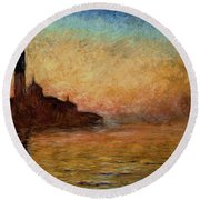 View Of San Giorgio Maggiore Round Beach Towel by Claude Monet