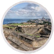 View Of San Juan From The Top Of Fort San Cristoba Round Beach Towel