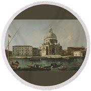 View Of Santa Maria Della Salute. Venice Round Beach Towel