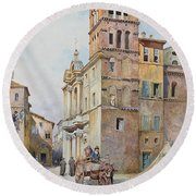 View Of Santa Maria In Monticelli, Rome  Round Beach Towel